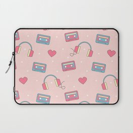cute colorful pattern with headphones, hearts, dots and cassette tapes Laptop Sleeve