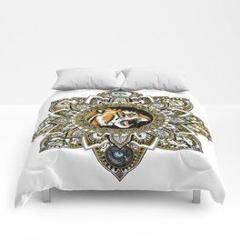 Black and Gold Roaring Tiger Mandala With 8 Cat Eyes Comforters