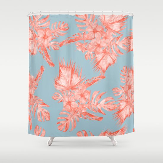 Dreaming Of Hawaii Coral On Ocean Blue Shower Curtain By Simple Luxe Society6