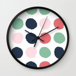 Painted dots abstract minimal modern art print for minimalist home decor nursery Wall Clock