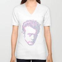 james franco V-neck T-shirts featuring James by Viktor Hertz