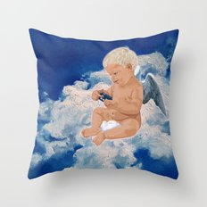 Little Angel And Blue Phone Box ( Tardis Doctor Who ) Throw Pillow