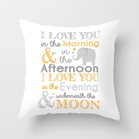 Throw Pillows Nairobi : Elephant Nursery Poem - Orange Throw Pillow by Janelle Krupa Society6