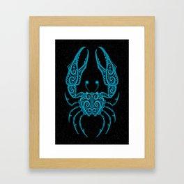 Blue Cancer Zodiac Sign in the Stars Framed Art Print