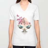 queen V-neck T-shirts featuring Queen by Frida Smedberg