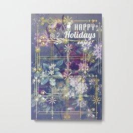 Stylish Vintage Happy Holidays Metal Print