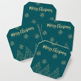 Merry Christmas Teal Gold Coaster