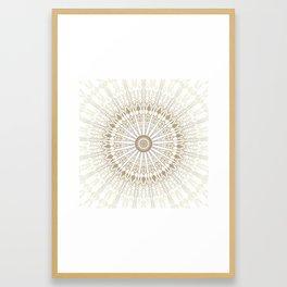 Khaki White Mandala Framed Art Print