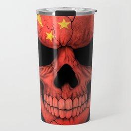 Dark Skull with Flag of China Travel Mug