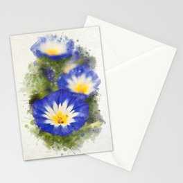 Watercolor Morning Glories Stationery Cards