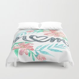 Mom Watercolor Floral Wreath Duvet Cover