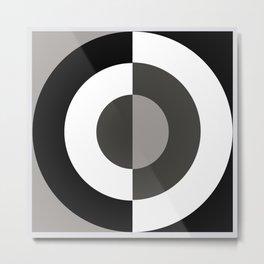 Circle, Minimalism Black, White, Grey Metal Print