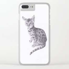 Bengal Cat Drawing Clear iPhone Case