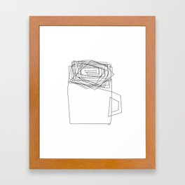 Coffee Illustration Black and White Drawing One Line Art Framed Art Print