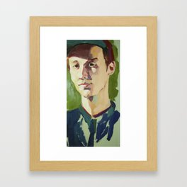 Young Kenneth Surrounded by Green Framed Art Print