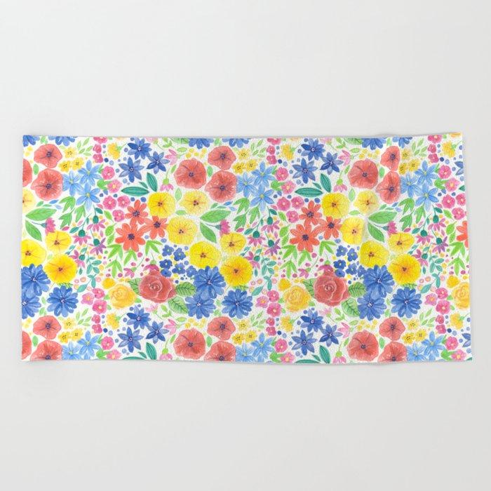 Floral watercolor pattern white Beach Towel