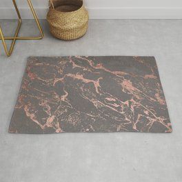 Modern Grey cement concrete on rose gold marble Rug