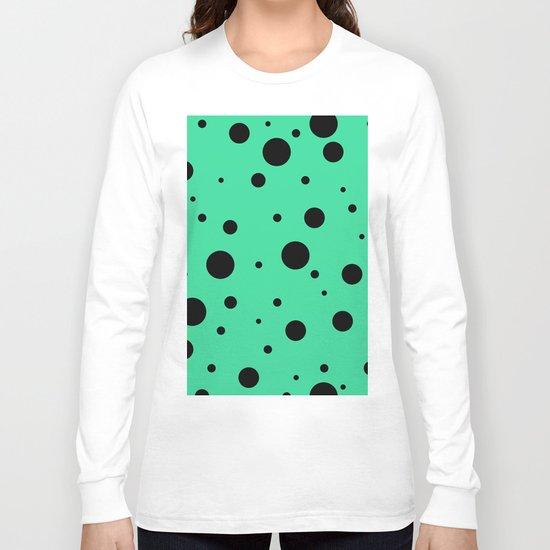Black Bubbles On Green Long Sleeve T-shirt
