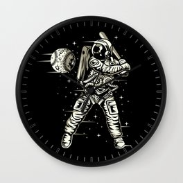 Space Baseball Astronaut Wall Clock