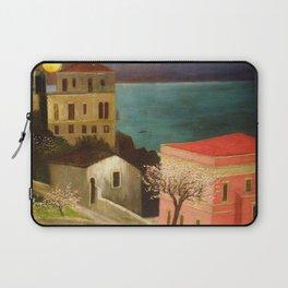 Full Moon over Taormina, Sicily, Italy - Ionian Sea landscape painting by Csontváry Kosztka Tivadar Laptop Sleeve