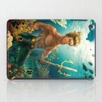 aquaman iPad Cases featuring Aquaman Black Lagoon (Dark Water Version)  by Brian Hollins art