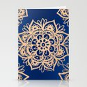 Blue and Gold Mandala by julieerindesigns