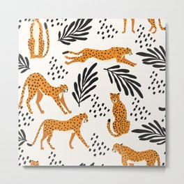 Cheetahs pattern on white Metal Print