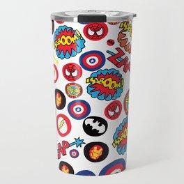 Superhero Stickers Travel Mug