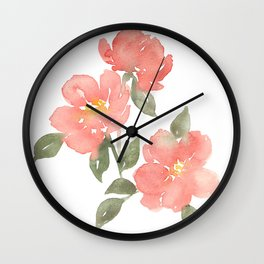 Loose watercolor peonies Wall Clock