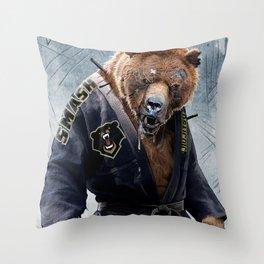 Jiu Jitsu Grizzly Throw Pillow