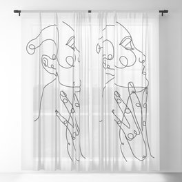 Woman Face Drawing in One Single Line Art Sheer Curtain