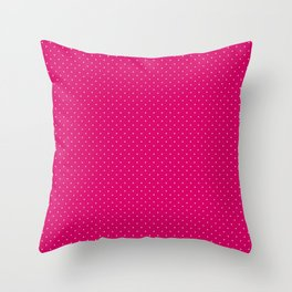 Extra Small White on Dark Hot Pink Polka Dots Throw Pillow