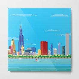 8-bit Pixel Chicago Skyline Metal Print