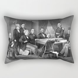 President Lincoln And His Cabinet, With Lieut. Genl. Scott Rectangular Pillow