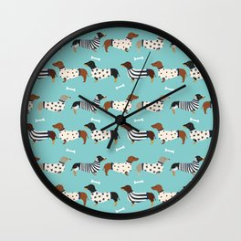 Dachshund sweaters cute gifts for dog lover pet friendly dog breed dachsie doxie dogs Wall Clock