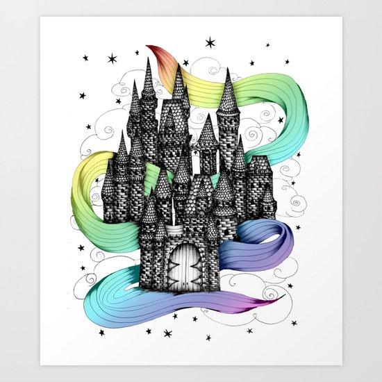 Super Magic Rainbow Dream Castle Art Print