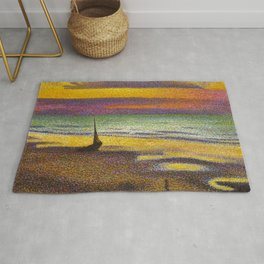 Classical Masterpiece 'Beach at Heist' by Georges Lemmen Rug
