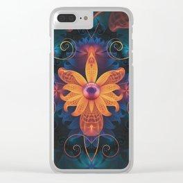 Beautiful Orange-Blue Fractal Angel Orchid Flower Clear iPhone Case