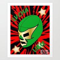 mucha Art Prints featuring Mucha Lucha by Los Espada Art