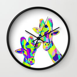 Abstract Cute Giraffe with Neon Colorful Spots Wall Clock