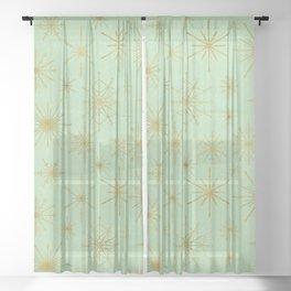 Snowflake Mandalas Mint Green Gold Sheer Curtain
