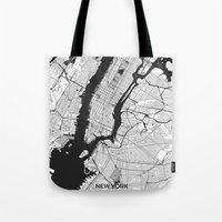 new york map Tote Bags featuring New York Map Gray by City Art Posters
