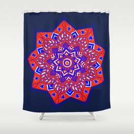 Red White and Blue Mandala star swirl Shower Curtain
