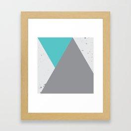 Triangle Grunge - Turquoise Framed Art Print
