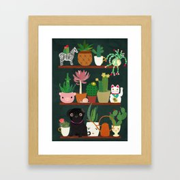 Cacti and Pug on blackboard Framed Art Print
