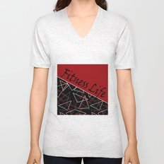 The fitness club . Red black creative pattern . Unisex V-Neck