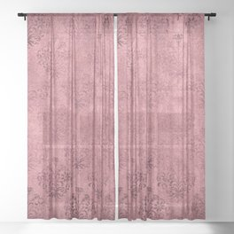 Elegant Mulberry Wine Grunge Damask Sheer Curtain
