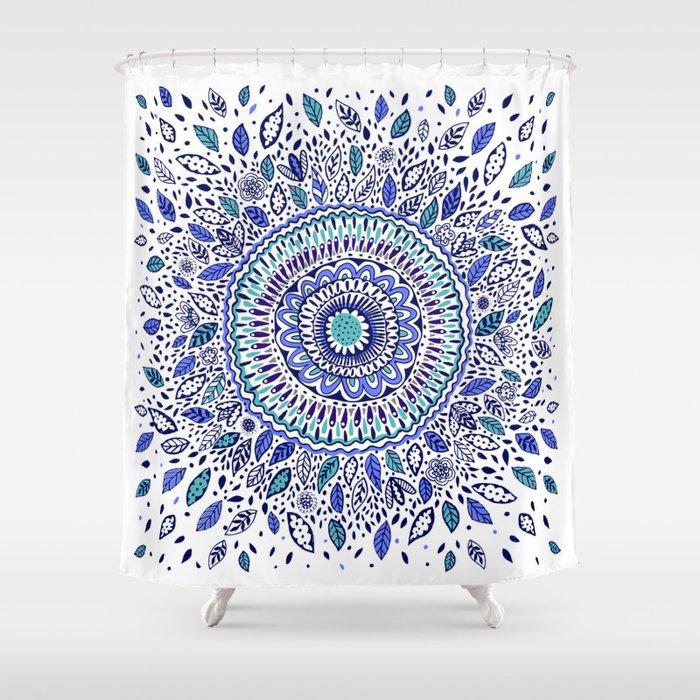 Indigo Flowered Mandala Shower Curtain