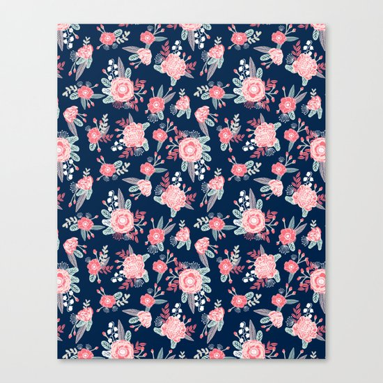 Florals navy coral pink blooms flower pattern girly trendy nursery baby Canvas Print