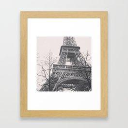 Eiffel tower, Paris, black & white photo, b&w fine art, tour, city, landscape photography, France Framed Art Print